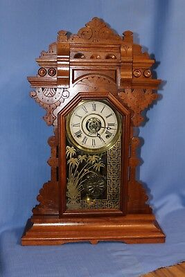 E Ingraham Rare Antique Mantle Parlor Clock Superior Looks/runs Great!