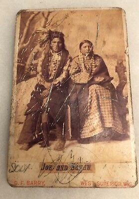 Native American Cabinet Card~Joe and Squaw~D.F. Barry~Sioux~West Superior, Wis.