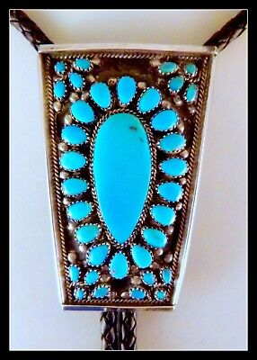 Lrg VTG Navajo BOLO SIGNED Victor Moses Begay Turquoise Sterling Silver bola tie