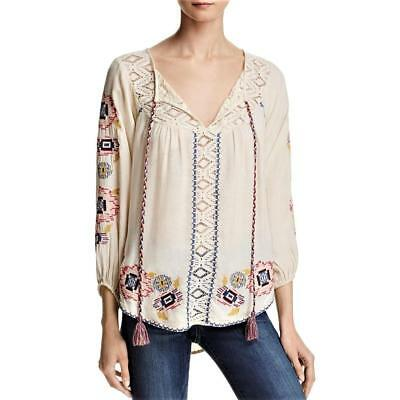 BANJARA Womens Ivory Beige LACE Embroidered BOHO PEASANT BLOUSE TOP SIZE M NWT