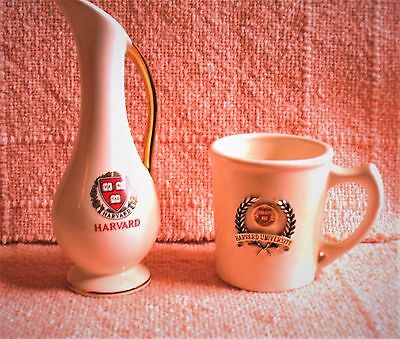 Harvard Mug w/ Gold Harvard Crest + Harvard Pitcher Made by American Pottery