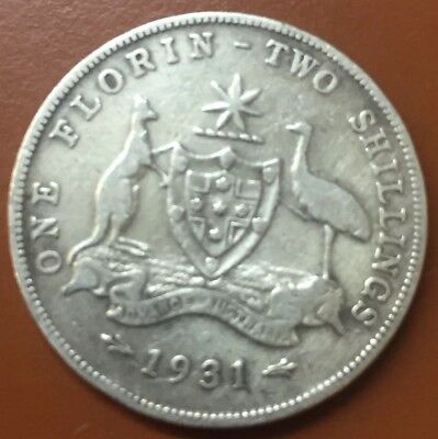 """1931 Australian """"Great Britain George V"""" Silver One Florin Two Shilling Coin TCC"""