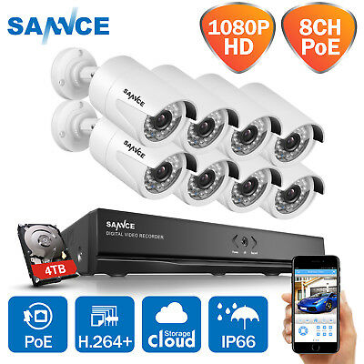 SANNCE 1080P 4CH / 8CH Power over Ethernet NVR Security IP Camera System 2TB 3TB