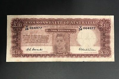 1952 Ten Pounds - Coombs/wilson - *last Prefix V/24* George Vi - Circulated