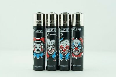 4 pcs New AUTHENTIC Refillable Clipper Full Size Lighters Bad Clowns