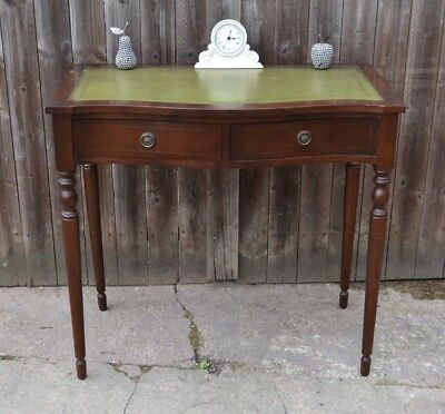 Mahogany Serpentine Writing Desk Dressing Table Leather Top Antique Style Table