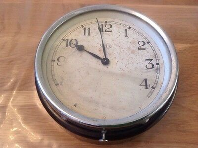 "Antique Smiths Motor Accessories Bakelite & Chrome Wall Clock 7X2.5"" To Restore"
