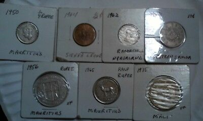 Lot Of 7 Different Island Coins Mauritius 1950 1/4 Rupee, 1956 1 Rupee And 1965