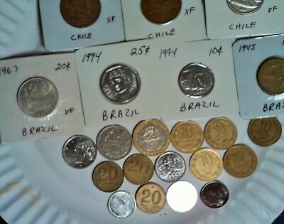 Chile / Brazil Lot Of 21  Coins In Vf To Unc  Condition -  Look!