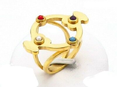 High Quality Stainless steel Inlaid pearls Turquoise winding Bear Ring