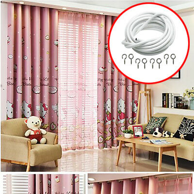Window Cord Cable Net Curtain Wire With FREE HOOKS&EYES Choose Lengths White