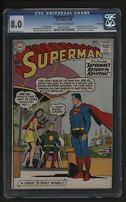 Superman #141 Cgc 8.0 Twin Cities Copy +  Certificate - It's A Classic!