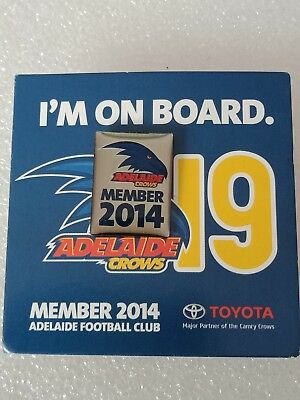 Adelaide Crows 2014 Member  Pin Badge On Card
