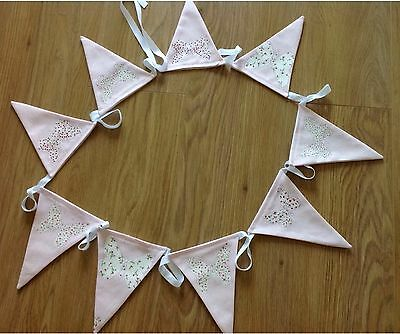 Laura Ashley Pink Bella Butterfly Bunting Flags - 3 Metres