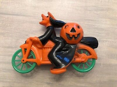 Vintage Rosbro Witch On Motorcycle Plastic Candy Container