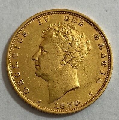 1830 King george IV Gold Bare Head Sovereign