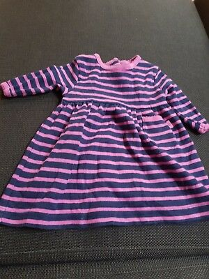 Jojo maman bebe Stripe Long Sleeve Cotton Dress 0-3 Months