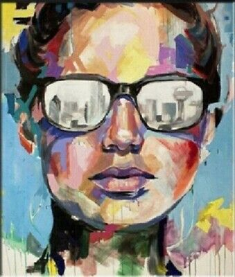 Hand-painted Pop Art OIL PAINTING on Canvas Wall Decor Women Portrait (No Frame)