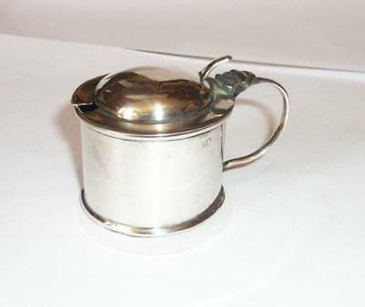 Antique Art Nouveau Solid Silver Mustard Pot 1909 Including Blue Glass Liner