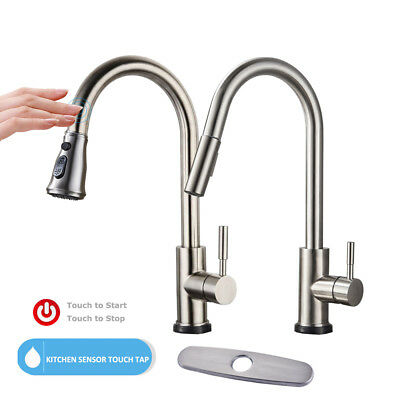 Sensor Touchless Kitchen Sink Faucet Pull Down Sprayer Brushed Nickel Mixer Tap