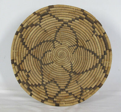 """Vintage African Botswana Coiled Free Form Design Basket Bowl 14"""" Across yqz"""
