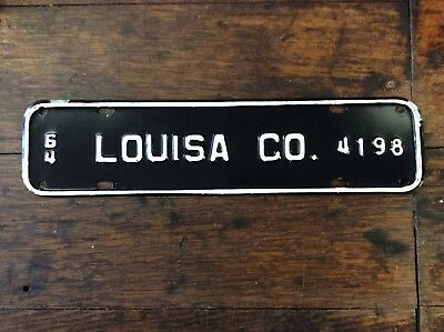 1964 Louisa Co Virginia License Plate Town Topper