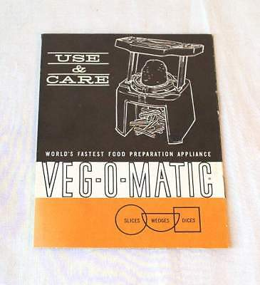 1963 Use & Care Folder/leaflet For Popeil Ronco Veg-O-Matic Excellent Condition