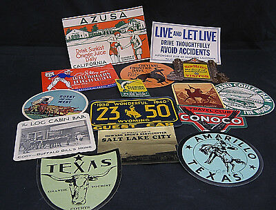 Lot #6 15 Motoring Decals Stickers Travel Gasoline National Park Tourist ca 1938