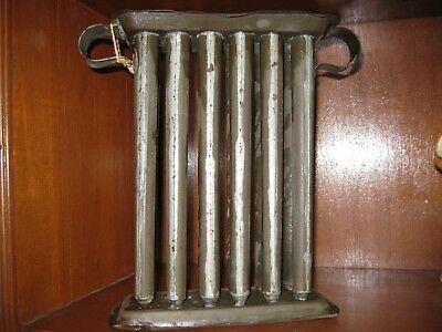 Antique PRIMITIVE 1890's 12 TUBE TIN CANDLE MOLD FOR TALL TAPER CANDLES