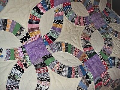 Amazing Vintage Heirloom Double Wedding Ring Handstitched Country Quilt