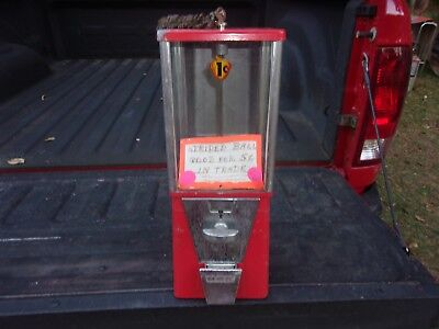 Vintage 1 Cent Oak  Vista Gum Machine All Original Glass Panels