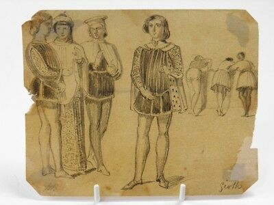 Antique 19th century Continental pencil drawing portrait of classical males