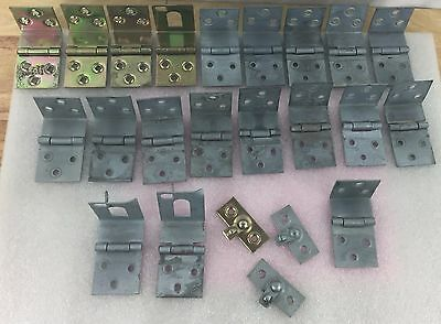 Lg Lot of Vintage Metal Galvanized Assorted Hinges + Extras - 23 pieces