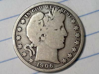 ***wow 100+ Yr Old U.s. Coin***1906 P Barber Silver Half Dollar Vg #9009
