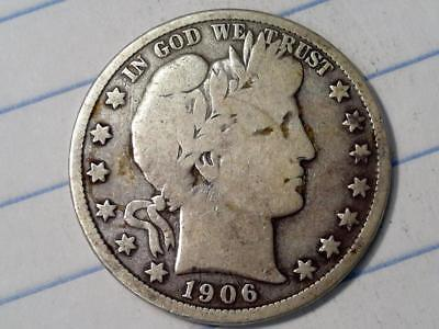 ***wow 100+ Yr Old U.s. Coin***1906 D Barber Silver Half Dollar Vg #9004