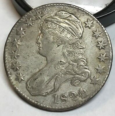 1824  various dates , capped bust half dollar , XF