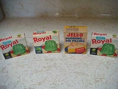 4 vintage boxes of Jello pudding and Royal gelatin
