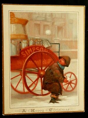 """Holiday Card VICTORIAN BOY SNOWBALLS  CARRIAGE """"A Happy Christmas"""" unused"""