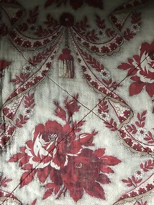 "Antique Toile Noeuds French Red Cotton Relined panel c1880s 34""/57""timeworn"