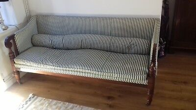 Reproduction upholstered mahogany settee