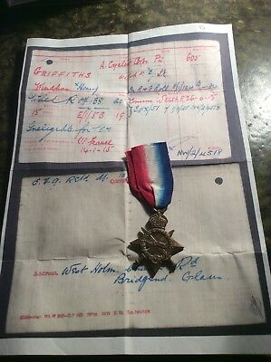 WW1 1915 Star - Army Cyclist Corps - Low  Number, Later Commisioned To Welsh R