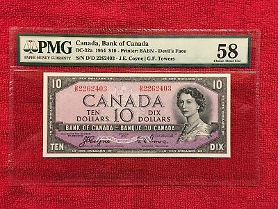 Bank of Canada  BC-32a 1954 10 Dollar Devil's Face PMG 58 AU