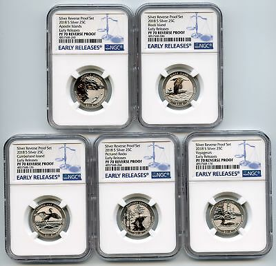 2018 S Silver Reverse Proof National Parks Quarter Set NGC PR70 Early Releases