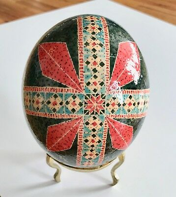 Gorgeous Ukrainian Real Ostrich Pysanka Easter Egg