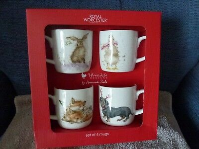 Boxed Set of 4 Wrendale Christmas mugs - brand new