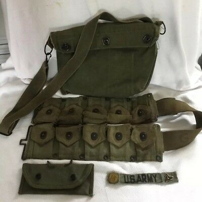 WWII Amo pouch/cartridge Belt garand, Protective Mask Bag And 1944 Carrying Case