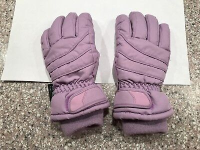 Purple Winter Fleece Lined Thinsulate Waterproof Girl Snow Gloves Sz 8 9 Years
