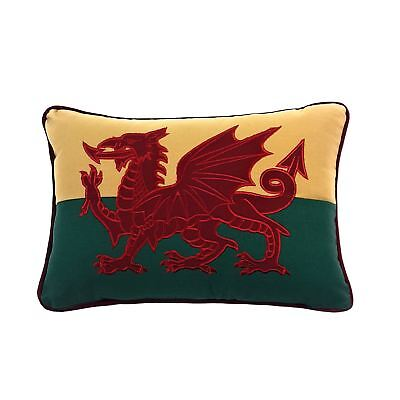 Designer Woven Magic Wales Welsh Red Dragon Embroidered Cotton Boudoir Cushion