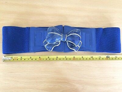 Vintage 70S 80S Belt Metal Bow Detail Blue Elasticated Party Disco Glam