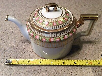 Vintage NIPPON Hand Painted Porcelain Teapot & Lid - Pink Floral with Gold Trim